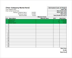 Excel Costing Template Estimate Sheet Building Estimation And Costing Excel Sheet