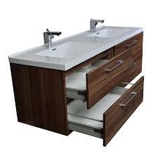 Cheap Bathroom Vanities Double Sink by Camino 67 In Modern Double Vanity Set Wall Mount In Walnut