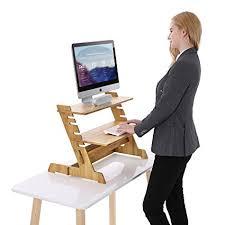 standing computer desk amazon amazon com songmics bamboo standing computer desk monitor stand