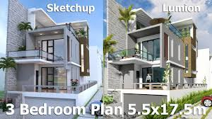 3 story house sketchup modeling 3 stories house 5 5x17m design with land size