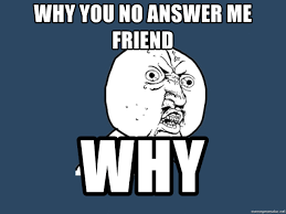 Why You No Meme Generator - why you no answer me friend why y u no meme generator