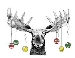 moose with ornaments stock illustration