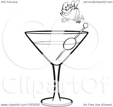 martini illustration clipart fly diver over a martini black and white outline royalty