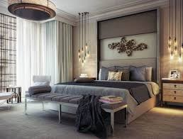 Modern Bedroom Lighting Modern Master Bedroom Illuminated With Modern Chandelier And