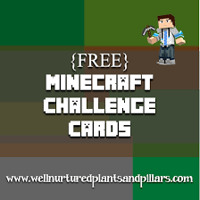 minecraft cards free printable minecraft challenge cards plants and pillars