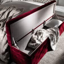 luxury italian red velvet storage ottoman juliettes interiors