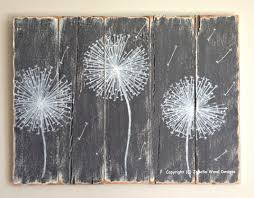 dandelion wood painting handmade distressed gray and white