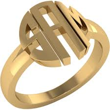 Gold Monogram Rings Solid Letter Styled Personalized Monogram Name Ring In Gold Plating