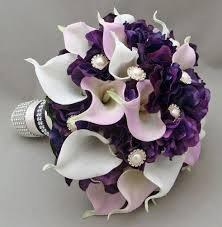 Purple Wedding Bouquets Purple Lavender Real Touch Calla Lily Wedding Flower Package