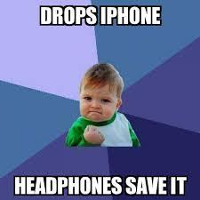 Iphone Text Memes - success kid drops iphone headphones save it meme explorer