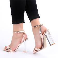 arielle perspex heel cut out sandals in rose gold i wants
