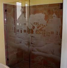 Satin Glass Shower Door by Hand Made Custom Shower Door And Panel By La Mancha Glass Gardens