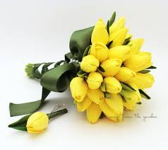 wedding flower real touch yellow tulips bridal bouquet moss green ribbon tulip