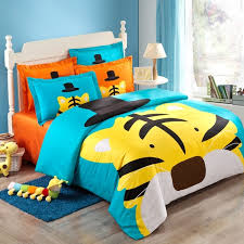 Bedding Sets For Girls Print by Blue Yellow And Black Girls And Boys Cartoon Tiger Print Jungle