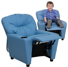 contemporary light blue vinyl kids recliner contemporary kids