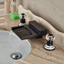 yakso dual handle oil rubbed bronze water fall bathroom sink
