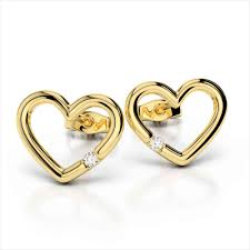 heart shaped earrings gold heart shaped stud earrings zse002085 ziveg 92 5 sterling