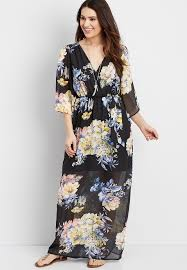 maxi dress with sleeves kimono sleeve floral maxi dress maurices