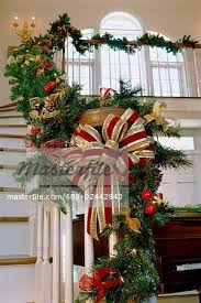 decorations on a staircase banister stock photo