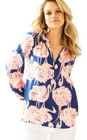 lilly pulitzer elsa silk top gimme some leg in blue lyst