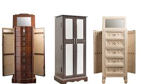 Wooden Jewelry Armoire Jewelry Armoires Black Jewelry Armoire With Mirror And Shelves For