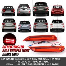 infiniti qx60 red for infiniti q50 q70 rear bumper reflector red 3d led bar brake