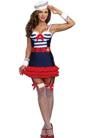 Halloween Costumes Sailor Woman Blue Multi 5 Piece Sailors Delight Navy Costume Sailor