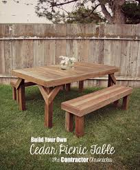 Diy Wood Picnic Tables by Cedar Picnic Table The Contractor Chronicles Yard Ideas
