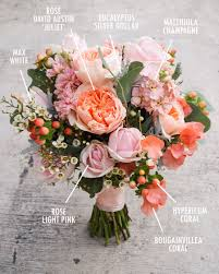 floral bouquet recipes by colour peach coral and floral