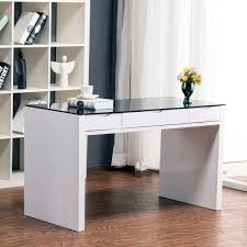 White Toughened Glass Bedroom Furniture Black Glass Desk With Drawers Best Home Furniture Decoration