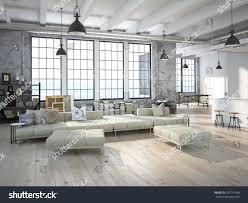 modern loft kitchen living room 3d stock illustration 327714938