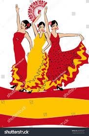 Dancing Flags Flamenco Dancer Over Spanish Flag Background Stock Vector