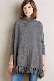 anthropologie turtleneck sweater poncho in gray lyst
