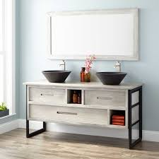 Teak Vanity Bathroom by Declan Teak Vessel Sink Double Vanity With Matching Top Light Gray