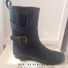 s burberry boots sale burberry rainboot brainmid mid buckle rubber black authentic