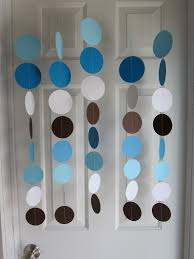 paper garland blue brown and white circles dangling decorations