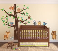 Woodland Forest Peel And Stick Woodland Animals Wall Tree Nursery Decal 1337 Innovativestencils