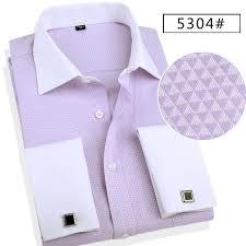 fashion men business shirts french cuff button men dress shirts