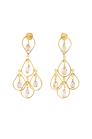 Chandelier Earrings India Gold Chagne Quartz Chandelier Earrings India Mahonindia Mahon