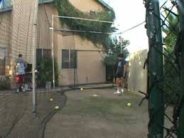 Backyard Batting Cages Reviews Batting In My Backyard Batting Cage From The Right Side Youtube