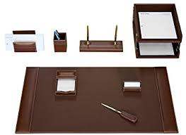 Brown Leather Desk Accessories Dacasso Rustic Brown Leather Desk Set 10 Home