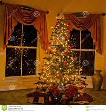 Lighted Christmas Trees Lighted Christmas Tree In Cozy Home Stock Image Image Of Vase