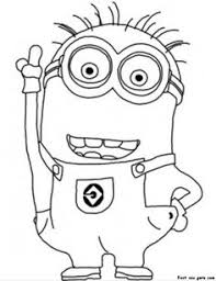 Printable Minions Dave Coloring Kids Free