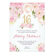 floral sweet 16 invitations announcements zazzle
