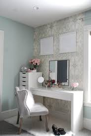 White Desk With Drawers Ikea Beauty Vanity Area Tour With Anthropologie Wallpaper And Ikea Malm