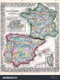Portugal And Spain Map by Antique 1870 Map Of Spain Portugal And France Stock Photo 867169