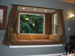 Bedroom Window Treatment Ideas To Living Room Futuristic Bay Window Design With Brown Curtain And