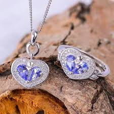 solid silver necklace jewelry images Colife jewelry romantic tanzanite heart jewelry set natural jpg