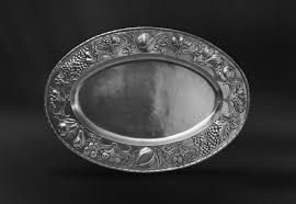 pewter platter oval embossed pewter tray italian pewter serveware