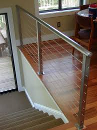 Metal Stair Rails And Banisters Decks With Wire Cable Railings Railing Is A Deco Steel Guardrail